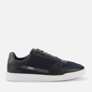 BOSS Hugo Boss Men's Cosmopool Tenn Leather/Knit Trainers - Dark Blue