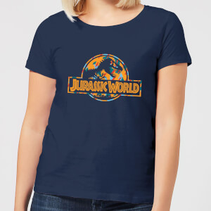 Jurassic Park Logo Tropical Women's T-Shirt - Navy
