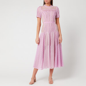 Self-Portrait Women's Lilac Lace Panel Midi Dress - Lilac