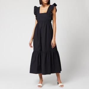 Self-Portrait Women's Black Cotton Poplin Midi Dress - Black