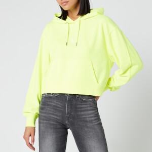 Calvin Klein Jeans Women's Puff Print Cropped Hoodie - Safety Yellow