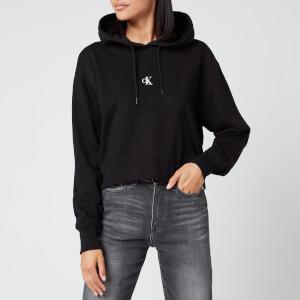 Calvin Klein Jeans Women's Puff Print Cropped Hoodie - CK Black