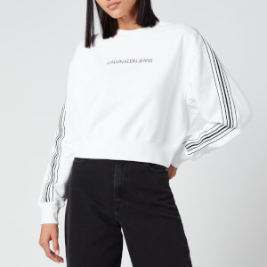 Calvin Klein Jeans Women's Stripe Tape Cropped CN Sweatshirt - Bright White