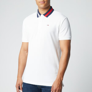 Tommy Jeans Men's Flag Neck Polo Shirt - White