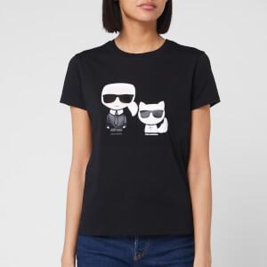 Karl Lagerfeld Women's Ikonik Karl & Choupette T-Shirt - Black