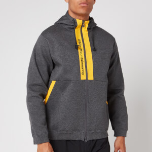 White Mountaineering Men's Logo Printed Contrasted Zip Up Hoodie - Charcoal