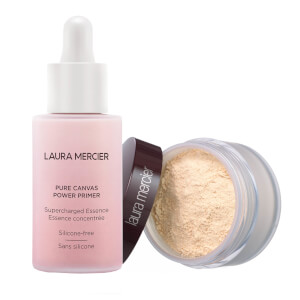 Laura Mercier Pure Canvas Power Primer Supercharged Essence & Translucent Loose Setting Powder Bundle (Various Shades)