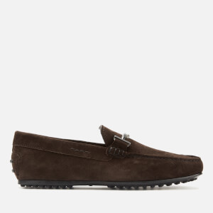 Tod's Men's Doppia T City Gommino Suede Driving Shoes - Brown