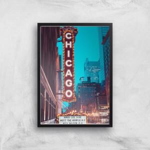 Chicago Night Life Giclee Art Print