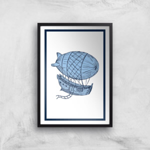 Blue Hot Air Balloon Giclee Art Print