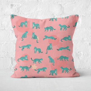 Cosmic Leopard Square Cushion