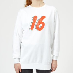16 Distressed Women's Sweatshirt - White
