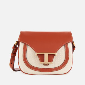 Tod's Women's Logo Micro Canvas Saddle Bag - White/Tan