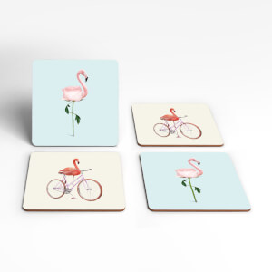 A Bike Ride Through The Flamingo Roses Coaster Set