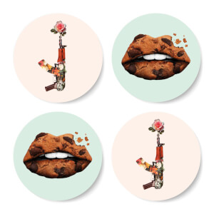 Kiss Kiss Bang Bang Round Coaster Set
