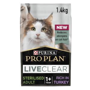 PRO PLAN LIVECLEAR Cat-Allergen Reducing Dry Sterilised Adult Food - Turkey - 1.4KG