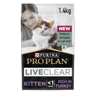 PRO PLAN LIVECLEAR Cat-Allergen Reducing Dry Kitten Food - Turkey - 1.4KG