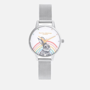 Olivia Burton Women's Illustrated Animals Rainbow Bunny Mesh Watch - Gold & Silver