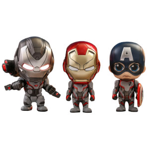 Lot de figurines Cosbaby Captain America, Iron Man et War Machine - Avengers: Endgame - Hot Toys