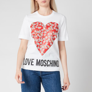 Love Moschino Women's Floral Heart T-Shirt - White