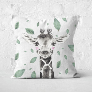 Giraffe And Leaves Square Cushion