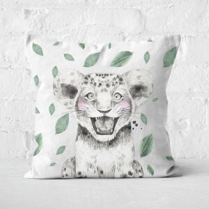 Cub And Leaves Square Cushion