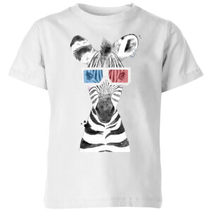 3D Zebra Kids' T-Shirt - White