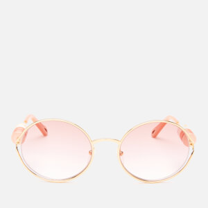 Chloé Women's Round Frame Beaded Sunglasses - Gold/Brown