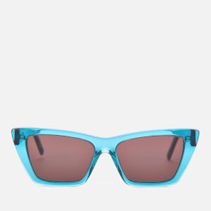 Saint Laurent Women's Mica Transparent Acetate Sunglasses - Blue/Black