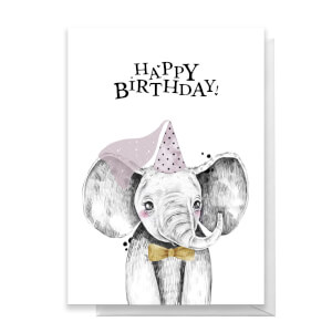 Happy Birthday Elephant Hat Greetings Card