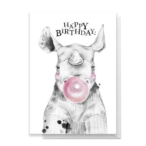 Happy Birthday Rhino Greetings Card