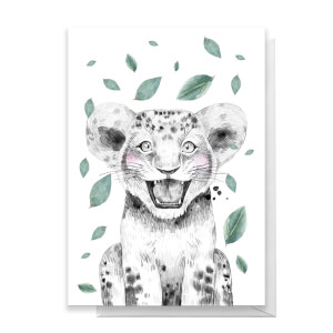 Lion Cub Leaves Greetings Card