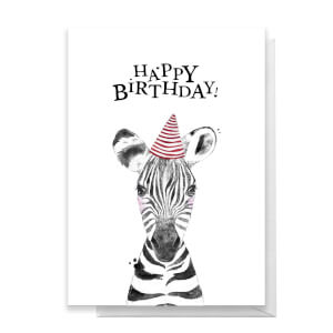 Happy Birthday Zebra Hat Greetings Card