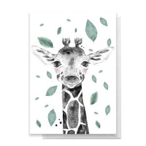 Giraffe Leaves Greetings Card