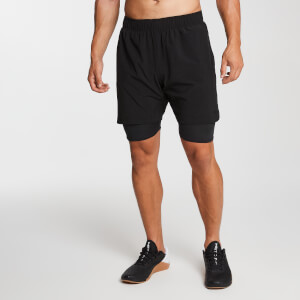 Essential Woven 2-in-1 Training Shorts - Black
