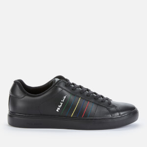 PS Paul Smith Men's Rex Embroidered Stripe Leather Trainers - Black