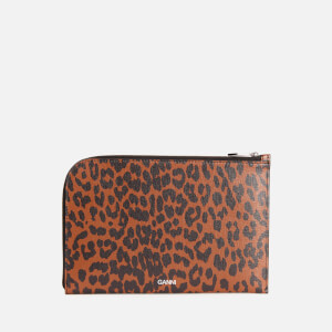 Ganni Women's Leopard Print Leather Pouch - Toffee
