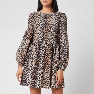 Ganni Women's Leopard Print Silk Blend Dress - Leopard
