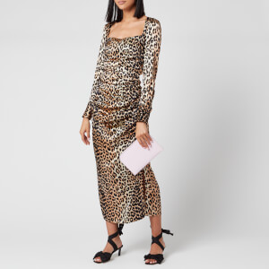 Ganni Women's Leopard Silk Blend Ruched Dress - Leopard