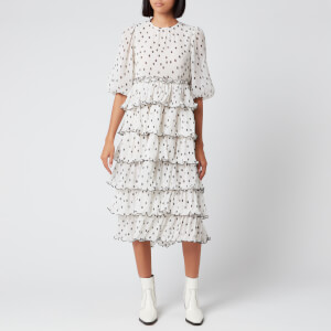 Ganni Women's Pleated Polka Dot Georgette Midi Dress - Egret