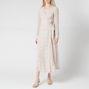 Ganni Women's Floral Print Georgette Wrap Dress - Egret