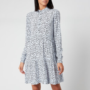 Ganni Women's Leaf Print Crepe Mini Shirt Dress - Heather