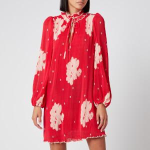 Ganni Women's Floral Pleat Georgette Mini Dress - Lollipop