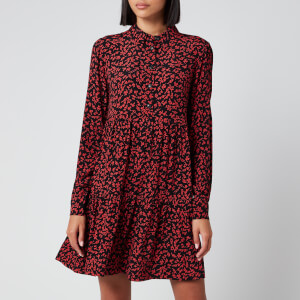 Ganni Women's Leaf Print Crepe Mini Shirt Dress - Black/Red
