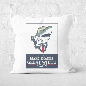 Make Sharks Great White Again Square Cushion