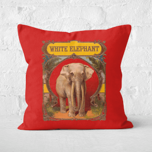 Pressed Flowers White Elephant Square Cushion