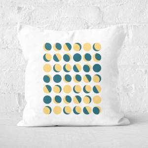 Pressed Flowers Moon Phase Pattern Square Cushion