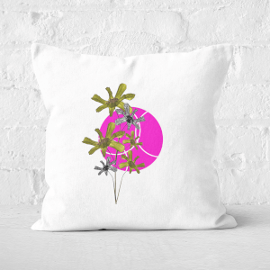 Pressed Flowers Hot Tone Flowers And Circles Square Cushion
