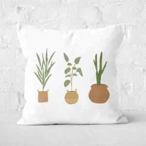 Pressed Flowers Plants Square Cushion