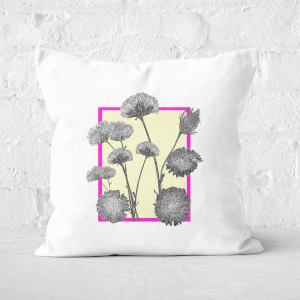Pressed Flowers Feminine Tones Framed Sketched FLowers Square Cushion
